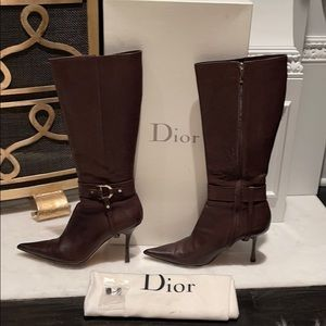 Dior tall brown boots sz 40.5